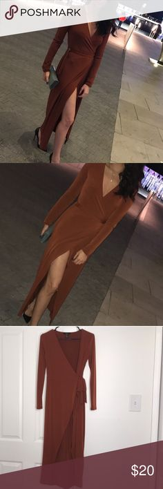 Long Brown Wrap Dress Worn only twice! Near perfect condition. *pics taken from another seller from previous purchase* Forever 21 Dresses Maxi