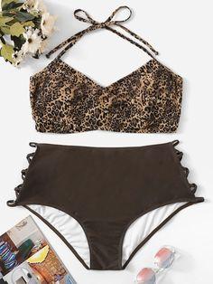 636fd856ed28b Plus Leopard Halter Top With Ladder Cut-out Bikini -SHEIN(SHEINSIDE)