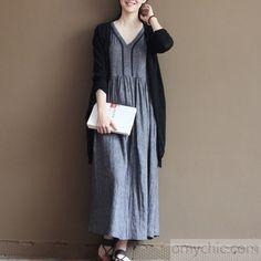 Sleeveless linen sundress gray long summer maxi dresses cafan