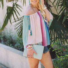 Rainbow watercolor off the shoulder tassel top - spring fashion & summer fashion