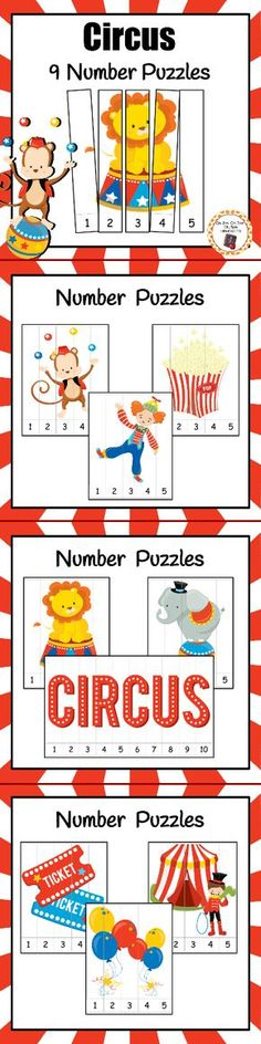 Add these fun circus number puzzles to your math center! You students will enjoy putting these puzzles together while working on number recognition and number order. Kindergarten, Preschool Classroom, Classroom Activities, Preschool Activities, Circus Theme Classroom, Preschool Circus Theme, Number Puzzles, Number Number, Numbers