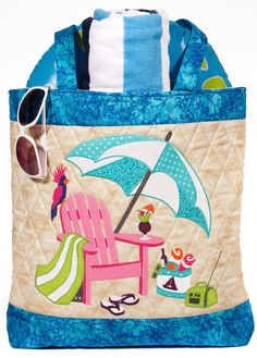 "My Beach Bag Pattern Only   Going to the Beach? We all know that you'll need a huge bag to hold all that beach ""stuff""; lotion, towels, sunglasses, flip-flops, etc., etc.! The bag is fully quilted making it a lined bag for your items at the beach or lake. This bag has a Full Back Pocket, A large zipper pocket on the inside and a beautiful applique on the front. This is the perfect bag to make!  Size is 17"" high x 17"" wide x 4"" deep – It's fully lined with the option of using vinyl for the…"