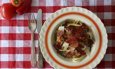 Squashpasta med serrano og tomat #lchf