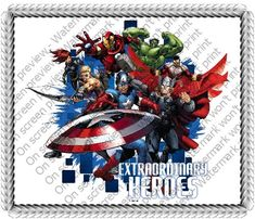 8 ~ Avengers Extraordinary Heroes Birthday ~ Edible Image Cake/Cupcake Topper!!! * New and awesome product awaits you, Read it now : : baking decorations