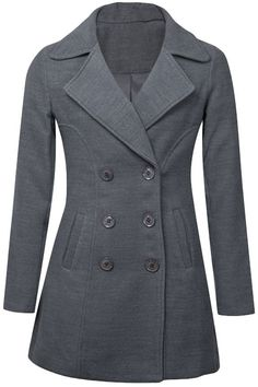 A long-sleeved coat crafted from solid chic with a double-breasted front, a notch lapel, front slanted pockets and longline silhouette. Top Coat, Long A Line, Double Breasted, Autumn Winter Fashion, Gray Color, Chic, Jackets, Cottage, Silhouette