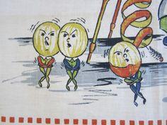 Vintage Tea Towel Anthropomorphic Oranges by NeatoKeen on Etsy, $32.00