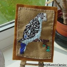 Blue Budgie, Embroidered Yarn and Felt Picture. £7.00