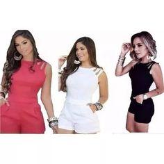 Macacão Macaquinho Curto Feminino Verão Instagram Com Bolso - R$ 53,99
