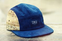 The Worlds Original Face  TWO Face London3rd Edition 5 panel cap, hatRoyal blue suede,damask patterned ( side panels vary
