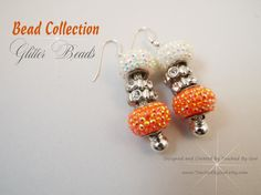 Earrings / Orange and White Glitter Metal Lined by TouchedbyGod