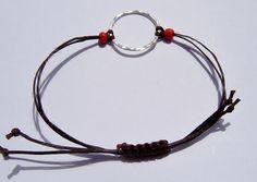 Brown Sterling Silver Charm Karma Bracelet by dzinebug on Etsy, €15.00