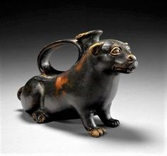 Apulian Askos in the Shape of a Dog, 320–290 BC Ancient Greek Sculpture, Ancient Egyptian Art, Vases, Houston, Greek Pottery, Animal Symbolism, Wood Images, Heart Shaped Rings, Dog Sculpture