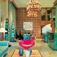 Eye Candy: The Wild, Wacky Wonderful World of Kelly Wearstler: This interior is classic Kelly — oversize details, tons of colors, and a little bit of the '80s.