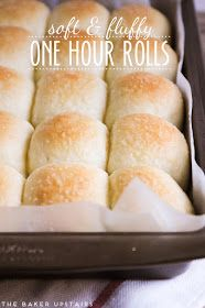 The Baker Upstairs: soft and fluffy one hour rolls. These rolls were so easy to make and were delicious! Bread Recipes, Baking Recipes, Chicken Recipes, Dinner Rolls Recipe, Quick Dinner Rolls, Soft Rolls Recipe, Quick Yeast Rolls, Soft Bread Recipe, Fluffy Dinner Rolls