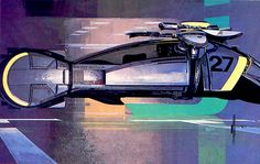 I think Syd Mead's work in Blade Runner defined the cyberpunk style or at least it's most basic components. Blade Runner Spinner, Syd Mead, 70s Sci Fi Art, Prop Design, Cyberpunk Art, Tumblr, Retro Futurism, Sci Fi Fantasy, Film