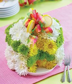 cake with fresh flowers | 800-Flowers® Lemon Fresh Flower Cake™ at From You Flowers