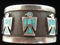 Vtg Old Fred Harvey Era Sterling Silver Navajo Zuni Turquoise Cuff Bracelet Lot   eBay