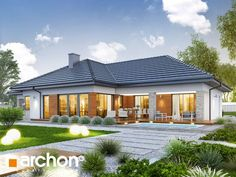 Dom w renklodach 6 Modern Family House, Modern Bungalow House, Bungalow House Plans, Family House Plans, 4 Bedroom House Designs, Model House Plan, House Design Pictures, Dream Home Design, Facade House