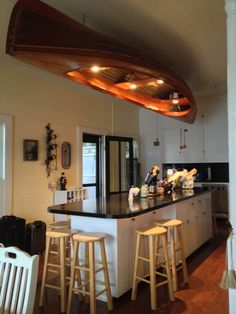 Turn a canoe in to a overhead light! This was in one of the houses we were at during our stay on Keuka Lake in Penn Yan NY. So beautiful!