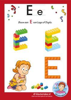 Pakket over de letter e blad 16, maak een D van lego of duplo, kleuteridee, free printable.