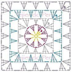 Bit of Color: mei 2017 Granny Square Crochet Pattern, Crochet Diagram, Crochet Chart, Crochet Squares, Crochet Granny, Crochet Motif, Crochet Stitches, Crochet Patterns, Free Crochet Bag
