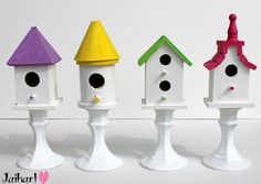 pedestal birdhouses...cute idea,especially with a little refinement