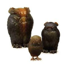 A RUSSIAN GOLD-MOUNTED AGATE OWL, AND TWO SILVER-MOUNTED AGATE OWL, ALL BEARING SPURIOUS FABERGE MARKS