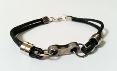 Bike Chain Corded Bracelet with Chain Rollers