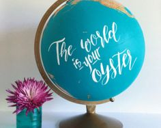 Hand Painted 12 Travel Globe Gold Hand by PrettyLittleDoodads