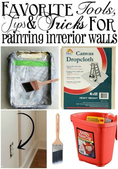 Favorite Paint Tools, Tips and Tricks Favorite Tools, Tips and Tricks for Painting Interior Walls Painting Tools, House Painting, Diy Painting, Painting Techniques, Painting Tricks, Painting Tutorials, Tips And Tricks, Interior Paint Colors, Interior Walls