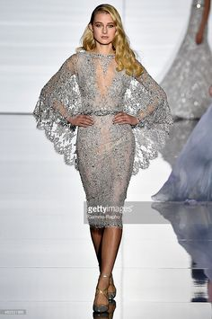 Model walks the runway during the Zuhair Murad show as part of Paris Fashion Week Haute Couture...