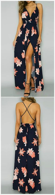 Backless Floral Printed High Slit Maxi Prom Dress #dressescasual