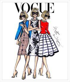 Hayden Williams Fashion Illustrations   Anna Wintour x3 by Hayden Williams