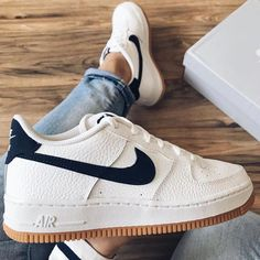 Nike Air Forces are my favourite shoe. I own this exact pair. Love the gum sole. Sneakers Mode, Sneakers Fashion, Shoes Sneakers, Shoes Heels, Fresh Shoes, Baskets, Custom Shoes, Sock Shoes, Swagg