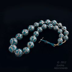 Vintage necklace of inlaid turquoise and silver beads, imported from India, circa 1930s.  This beautiful necklace is a book piece, featured in Rosanne Ettinger's
