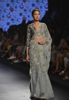 PAYAL SINGHAL Powder blue saree with navy blue floral applique blouse available only at Pernia's Pop Up Shop.