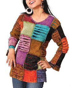 Take a look at this Purple & Brown Patchwork Top - Women by Rising International on #zulily today!