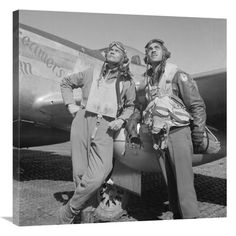 Digitally restored vector photo of Benjamin O. Davis and Edward C. Gleed, members of the Tuskegee Airmen Fighter Group, posing with a aircraft named Creamer's Dream. Poster Print x Tuskegee Airmen, Thing 1, African American Art, American History, Native American, Fighter Pilot, Nose Art, Vector Photo, Photo Archive