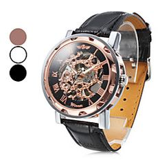 Men's Automatic Mechanical Hollow Case PU Band Analog Wrist Watch (Assorted Colors). Get irresistible discounts up to 50% Off at Light in the Box using Coupons & Promo Codes.