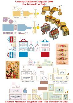 misc printies from Miniaturas Magazine 2008 Paper Doll House, Paper Houses, Miniature Crafts, Miniature Dolls, Dollhouse Toys, Dollhouse Miniatures, Paper Toys, Paper Crafts, Vitrine Miniature