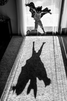 """Batman"" by Anna Kuncewicz, Poland - 1st Place in The Silhouette Category at B&W CHILD 2016 Photo Competition, Second Half"