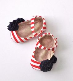 BETHANY baby girl shoes - gray and white stripe with yellow flower. $28.95, via Etsy.