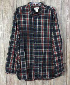 Mens LL Bean XXL Tall 2xlt Blue Plaid Flannel Shirt Cotton Casual Career Soft