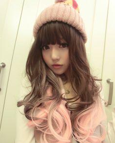 pastel hair pink hair moko Gyaru chinese net idol Chen Yue Kingboo Chinese ulzzang fei zhu liu