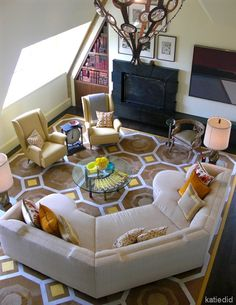 Jay Jeffers - modern - family room - other metro - Erika Ward - Erika Ward Interiors Like the furniture arrangement Circular Couch, Curved Couch, Modern Family Rooms, Modern Room, Rugs In Living Room, Living Room Designs, Interior Design Principles, House Tweaking, Family Room Furniture