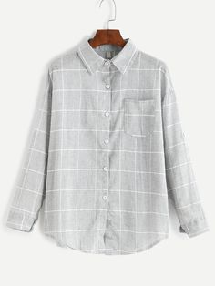 Shop Grey Grid Print Pocket Curved Hem Shirt online. SheIn offers Grey Grid Print Pocket Curved Hem Shirt & more to fit your fashionable needs.