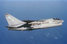 A-7E Corsair II. heLing-Temco-Vought A-7 Corsair IIis a carrier-capable subsonic lightattack aircraftintroduced to replace theDouglas A-4 Skyhawk. The A-7 airframe design was based on the successfulsupersonicVought F-8 Crusader. It was one of the first combat aircraft to feature ahead-up display(HUD), aninertial navigation system(INS), and aturbofanengine.