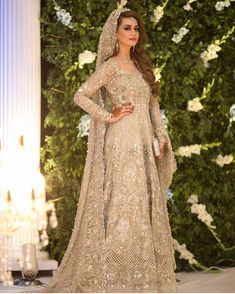 This beautiful anarkali is meticulously highlighted with silver, kora, dabka, tilla, sequins and swarovsky. Pakistani Wedding Outfits, Pakistani Wedding Dresses, Bridal Outfits, Indian Dresses, Wedding Hijab, Wedding Wear, Indian Outfits, Elan Bridal, Pakistan Bride