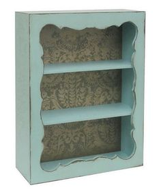 Look at this #zulilyfind! Blue Vintage Print Shelf #zulilyfinds I think I can make something like this with an old bookcase and a scroll saw and piece of mdf...
