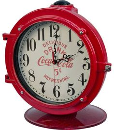 """""""Drink Coca Cola 5 Cents"""" Red Countertop Porthole Clock on Red Swivel Base, """"Delicious. Refreshing."""" - 15"""" diameter, 17""""h"""